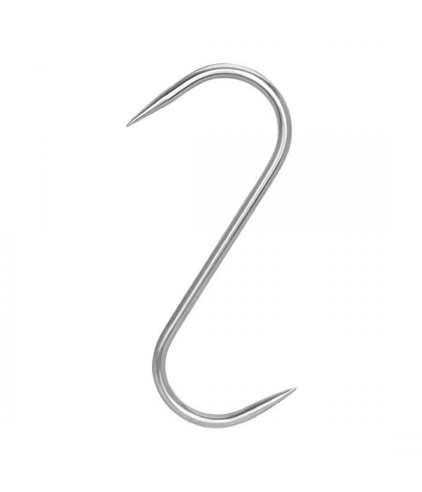 Крюк для мяса S-образный 10х220 мм с двусторонней заточкой нержавеющий