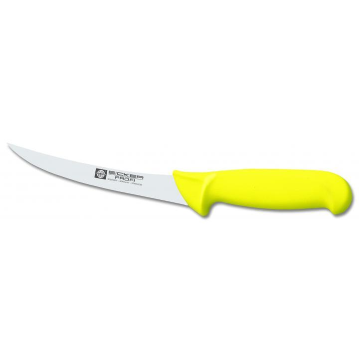 27.513.13 Нож обвалочный (изогнутый, жесткий) Eicker, ручка желтая, нейлон