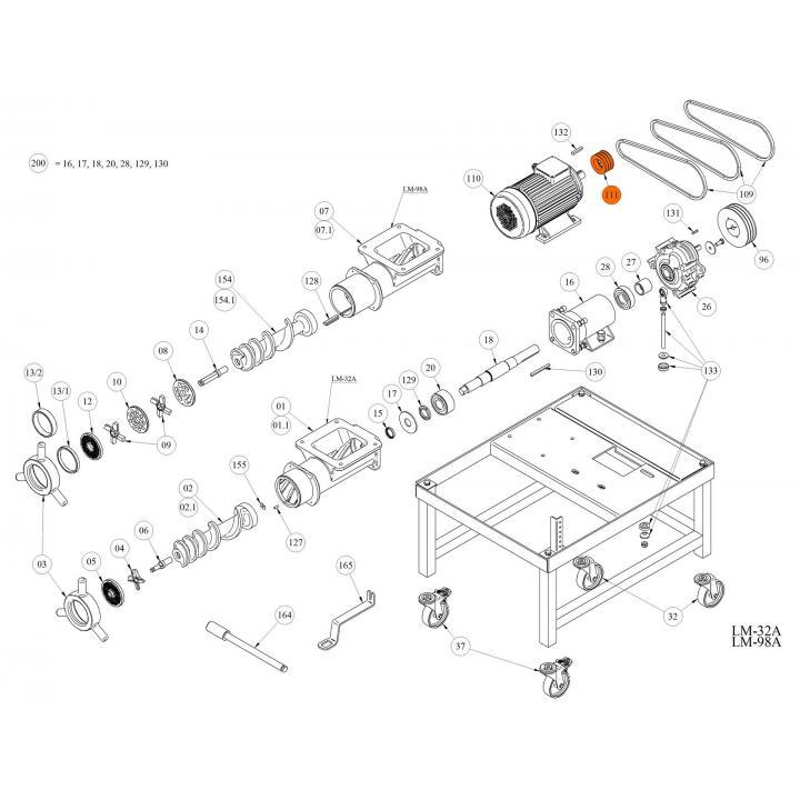 Шкив электродвигателя для волчка LM-32A / 98A