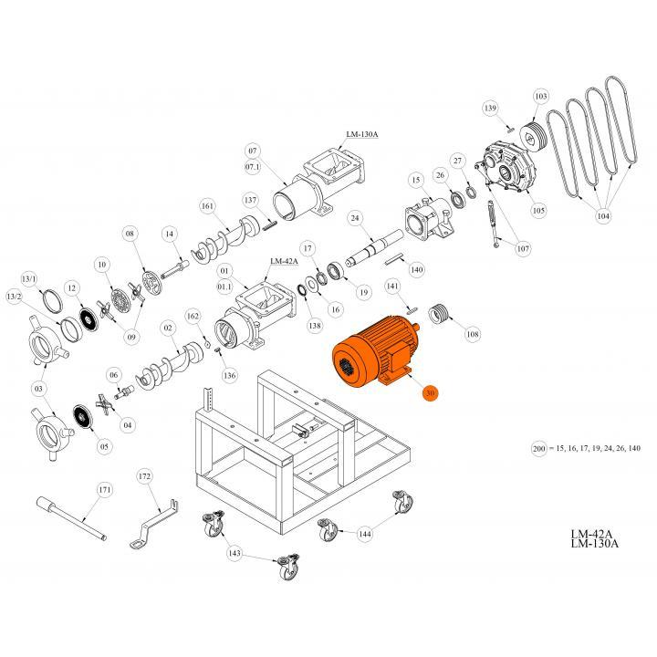 Электродвигатель 11,0 кВт для волчка LM-42A / 130A